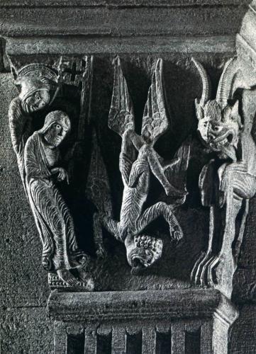 Cathedrale St Lazare, Chapiteau de la nef, La chute de Simon le magicien.jpg
